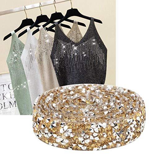 Jeanoko Exquisita Cadena de Malla de Cristal Elegante Color Opcional con Bandas de Diamantes de imitación para Ropa, Bandas para Apliques para la decoración de Zapatos(Crystal Yellow)
