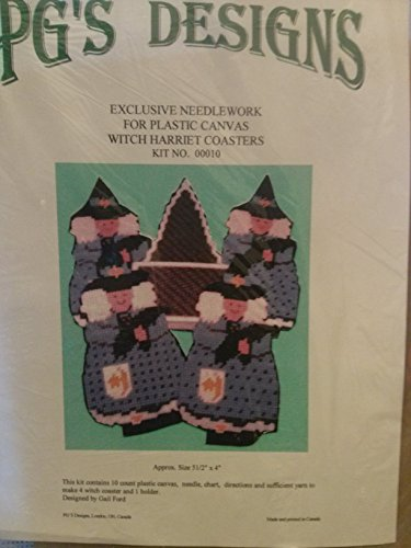 PG`S DESIGNS 마녀 해리엇 컵 받침 세트 4 키트 7 카운트 플라스틱 캔버스