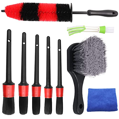 Hiveseen 9 Pcs Car Detailing Brush Set with Tire Brush, Long Handle Rim Brush, Soft Detail Brushes, Auto Wheel Cleaning Brush Kit for Car Alloy Wheel, Air Vent, Engine, Dashboard, Interior, Exterior