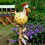 Keramik Huhn Gartendeko, Harz und Keramik Hahn, Gartendeko Huhn Deko,Handarbeit Gartenstatue Dekorative Henne Huhn Gartenstecker, Gartenstecker Figur Terrasse Wetterfest