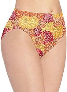Ropa interior para mujer, color naranja floral flor moda coqueto sexy mujer bragas bragas