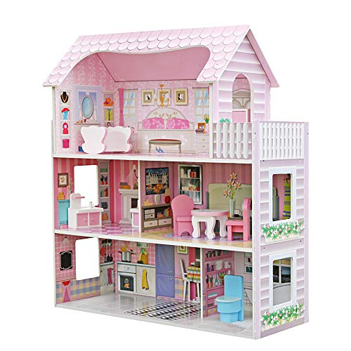 helachache Large Children's Wooden Dollhouse Kid House Play Pink with Furniture -  26317509