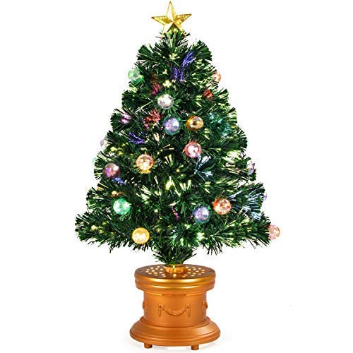 COSTWAY Artificial Tabletop Christmas Green Optical Fiber 90 Tips PVC with 26 Plastic Colorful Balls & Golden Star Premium Decorations Solid Base Full Tree (3ft)