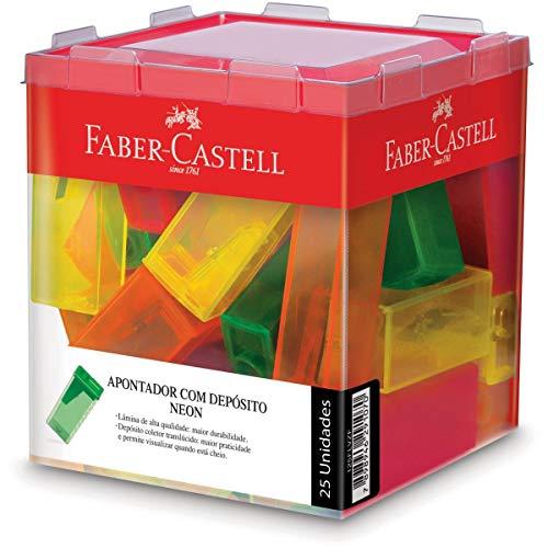 Apontador com Deposito 4 Cores Sortidas 25 Unidades, Faber-Castell, Neon