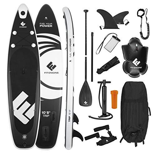 FitEngine Stand-Up-Paddle-Board Set Completo | Allrounder Trip Sup Incl. Soporte para cámara de acción, Bolsa Seca Inflable, Funda Impermeable para teléfono móvil | 325 cm Allrounder (10'8'')