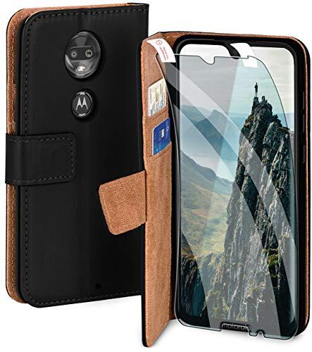 moex Handyhülle für Motorola Moto G7 Plus - Hülle mit Kartenfach, Geldfach & Ständer, Klapphülle, PU Leder Book Hülle & Schutzfolie - Schwarz