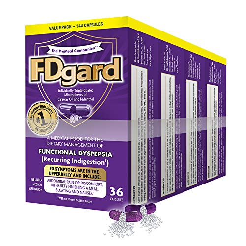 FDgard® for The Dietary Management of Functional Dyspepsia (Recurring Indigestion) Symptoms Including, Abdominal Discomfort, Difficulty Finishing a Meal, Bloating†*, Nausea 144 Capsules