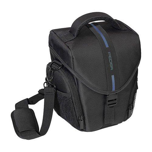 PEDEA DSLR-Kameratasche Essex Fototasche für Spiegelreflexkameras mit wasserdichtem Regenschutz, Tragegurt und Zubehörfächern (Größe L, blau)