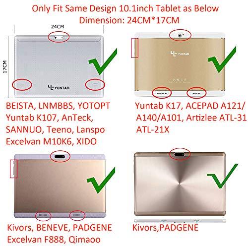 XIDO Slim Folio Hülle Case Tasche für 10.1 Zoll Tablet ACEPAD A140 A121 A101 / Yuntab K17 K107 / Tablet 10 Zoll HD YOTOPT/BENEVE/AnTeck 10 Zoll/PADGENE/Tagital 10,1 Zoll Tablet, Gold