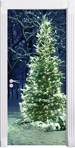 Stil.Zeit Möbel Albero di Natale Brillante Come Sfondo Porta, Formato: 200x90cm, Telaio della Porta, Adesivi Porta, Porta Decorazione, autoadesivi del Portello