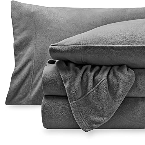 Bare Home Super Soft Fleece Sheet Set - Queen Size - Extra Plush Polar Fleece, Pilling-Resistant Bed Sheets - All Season Cozy Warmth, Breathable & Hypoallergenic (Queen, Grey)