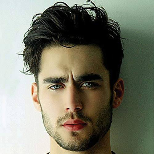 Peluca de diadema para hombre y niños, peluca de pelo corto Pelucas de los hombres Pelucas de los hombres de moda guapo Pelucas de los hombres maduros desgaste diario peluca natural sintética peluca