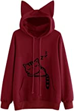 Women Sleeping Cat Hoodie Sweatshirt Drawstring Pocket Pullover Tops Blouse by Keepfit