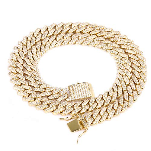 GOLD IDEA JEWELRY Hip Hop Heavy 14k Gold Plated/White Gold Plated Full Iced Out Miami Cuban Link Chain Necklace or Bracelet 12MM (14k Gold Plated, 18)
