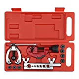 Fbest Double Flaring Tool Kit for 3/16'-5/8' 7 Dies Automotive Brake Line Tube Cutter, Heavy Duty Steel Flaring Tools Kit and Swage Tool with Replacement Blade and Reamer