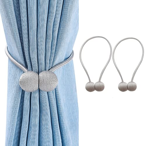 Curtain Tiebacks Magnetic Drapes Holdbacks, 18.5 Inch Big Magnet and Strong Suction Curtain Holdbacks Upgrade Decorative Tie Backs for Blackout Sheer Window Treatment, Grey(2 Pack)