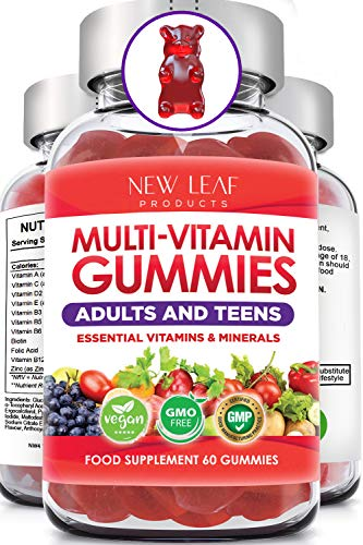Chewable Vegan Multivitamin Gummies - Non Sugar Coated, Gluten Free, Non-GMO Multivitamins for Adults and Kids - Fortified with Vitamins C A D E B Biotin, Folate, & Zinc