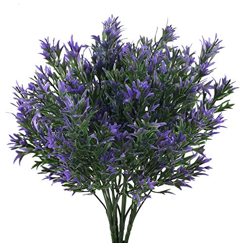 NAHUAA 4PCS Plantes Artificielles Violet Plantes en Plastique Artificielles Arbustes pour Décoration Exterieure Interieur Bureau Jardin Balcons Parc