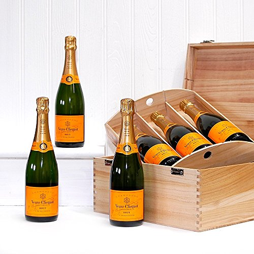 6 Bottle Deluxe 75cl Veuve Clicquot Champagne in a Luxury Wooden Presentation Box - Gift ideas for Mum, Valentines, Mothers Day, Birthday, Wedding, Anniversary, Business and Corporate gifts, Dad, Fathers Day, Congratulations, him, her