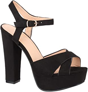 Elara Damen Pumps | Bequeme Peep-Toe Sandalette | Trendige Plateau High Heels | Chunkyrayan