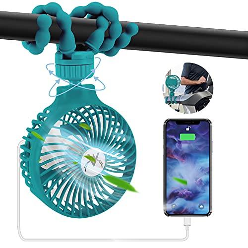 Tragbarer USB Ventilator, Tragbarer Laufband Lüfter Mini-USB-Schreibtisch Lüfter/4000 mAh Batterie-Powerbank/4 Geschwindigkeiten/360°Drehung Clip Ventilator für Kinderwagen, Autositz, Zelt(Grün)
