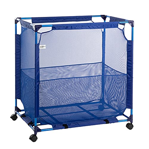 VINGLI Modern Pool Storage Organizer Bin Rolling Cart Poolside Mesh Container for Your Home Garage, Shed, Children Playroom or Pool Toys Goggle Balls Float Container Blue 36.6