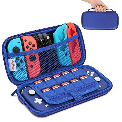HEYSTOP Funda Compatible con Nintendo Switch Lite, Accesorios Nintendo Switch Lite con 10 Juegos de Nintendo Switch Organizador de Tarjeta, Nintendo Switch Lite Funda Accesorios - Azul