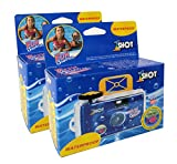 Disposable Camera Waterproof 35mm Underwater Film Single Use One Shot Fun Shooter 400 ASA/ISO 27 Exposures 2-Pack