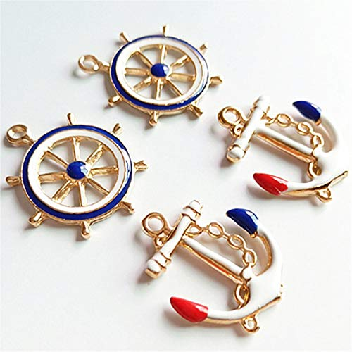 SKTNB 10 pcs/lot Alloy Creative Anchor Rudder Pendant Buttons Ornaments Earrings Choker Hair DIY Accessories Handmade