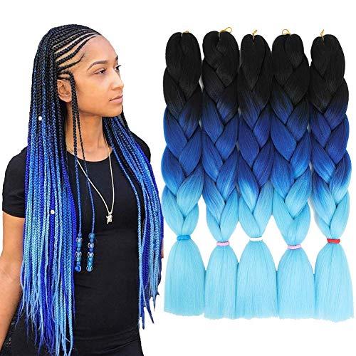 Ombre Blue Braiding Hair Jumbo Braids Hair Extensions Pre Stretched 5Pcs 100g/Pcs 24Inch (Black-Blue-Light Blue)