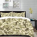 ropa de cama - Juego de funda nórdica, camuflaje, diseño clásico de camuflaje antiguo tema de supervivencia en la jungla, verde militar verde pálido Cre, juego de funda nórdica de microfibra con 2 fun