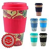 CasaBasics Taza de Café para Llevar en Bambú | Reutilizable, Biodegradable, Reciclable, Ecológica, Vegana | 450 ml / 15 oz | Adecuada para lavavajillas - Color: Flamingo