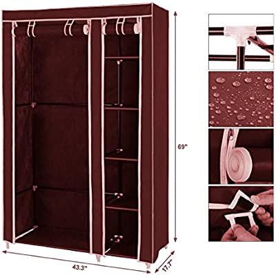 "Biaba Collection Multipurpose Almirah Foldable Storage Rack Collapsible Cabinet Wardrobe Storage Organizer Fancy and Portable Foldable Closet Wardrobe Cabinet Portable Clothes Closet Folding Wardrobe ""Maroon"""
