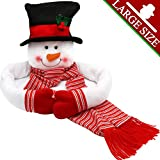 OurWarm Christmas Tree Topper Snowman Hugger with Hat Shawl and Poseable Arms Holiday Decorations Winter Wonderland Decoration Xmas...