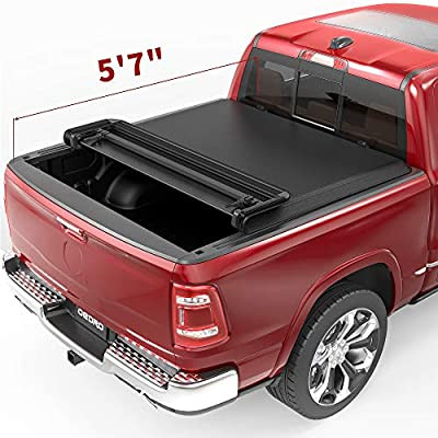 oEdRo Quad Fold Tonneau Cover Soft Four Fold Truck Bed Covers Compatible with 2009-2020 Dodge Ram 1500 5.6ft Bed, Fleetside (for Models w/o Ram Box)