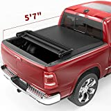 oEdRo Quad Fold Tonneau Cover Soft Four Fold Truck Bed Covers Compatible with 2009-2021 Dodge Ram 1500 5.6ft Bed, Fleetside (for Models w/o Ram Box)
