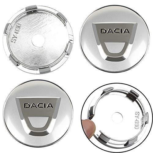 Tapacubos 4 unids 60mm Coche Centro de rueda de automóviles Caps Tarjeta Etiqueta Pegatina Rueda Cubiertas a prueba de polvo para Dacia Duster Logan SANDERO LODGY AUTO ACCESORIOS AUTOMÓVILES CORTE COR