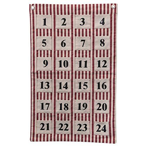 Creative Co-op Wandbehang mit 24 Taschen und Ösen, Baumwolle, 66 cm, Rot