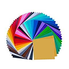 "12"" X 12"" vinyl 68 sheets in amazing 32 different colors, 3 mil thickness .( 3 metal colors , 2 Matt colors black and white , 27 Glossy colors ) . Check the product description for a detailed description of the colors and quantity. Adhesive backing a..."
