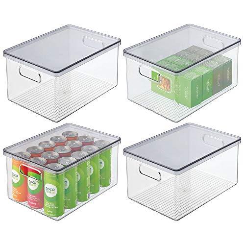 mDesign Juego de 4 Cajas organizadoras de plástico para Nevera – Recipiente para Guardar Alimentos con Tapa y Asas – Organizador para Nevera, Cocina y despensa Apto para Alimentos – Transparente/Gris
