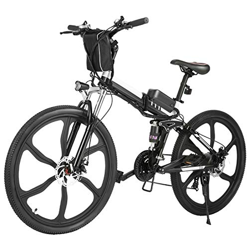 Hicient Electric Bike for Adults, 26' Foldable Electric Mountain Bike, E-Bike Electric Commuting Bicycle with Fast Charge 36V 8AH Lithium-Ion Battery & Professional 21 Speed Gears (Black)