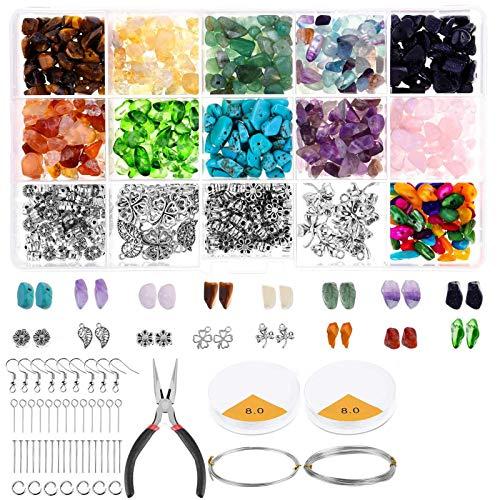 RENSHENKTO Cuentas de chip de cristal y joyería que hace el kit de piedras preciosas para el collar del pendiente 1046pcs