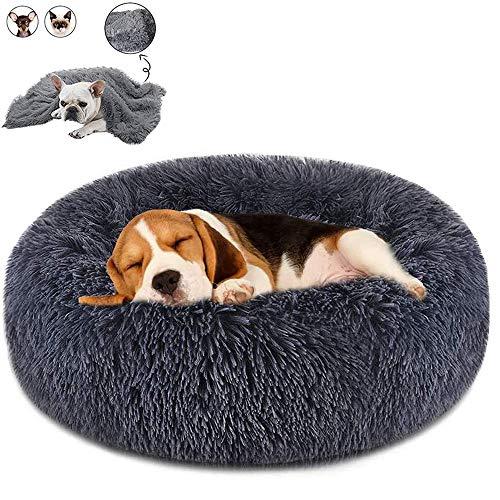 Cama redonda para perros de Boehner, de felpa suave, lavable y calentita, cómoda para dormir en invierno (Donut Pet Bed), Gris oscuro., 100 cm