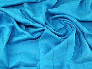Woven Plaid Check Pure Linen Dress Fabric Turquoise - per metre