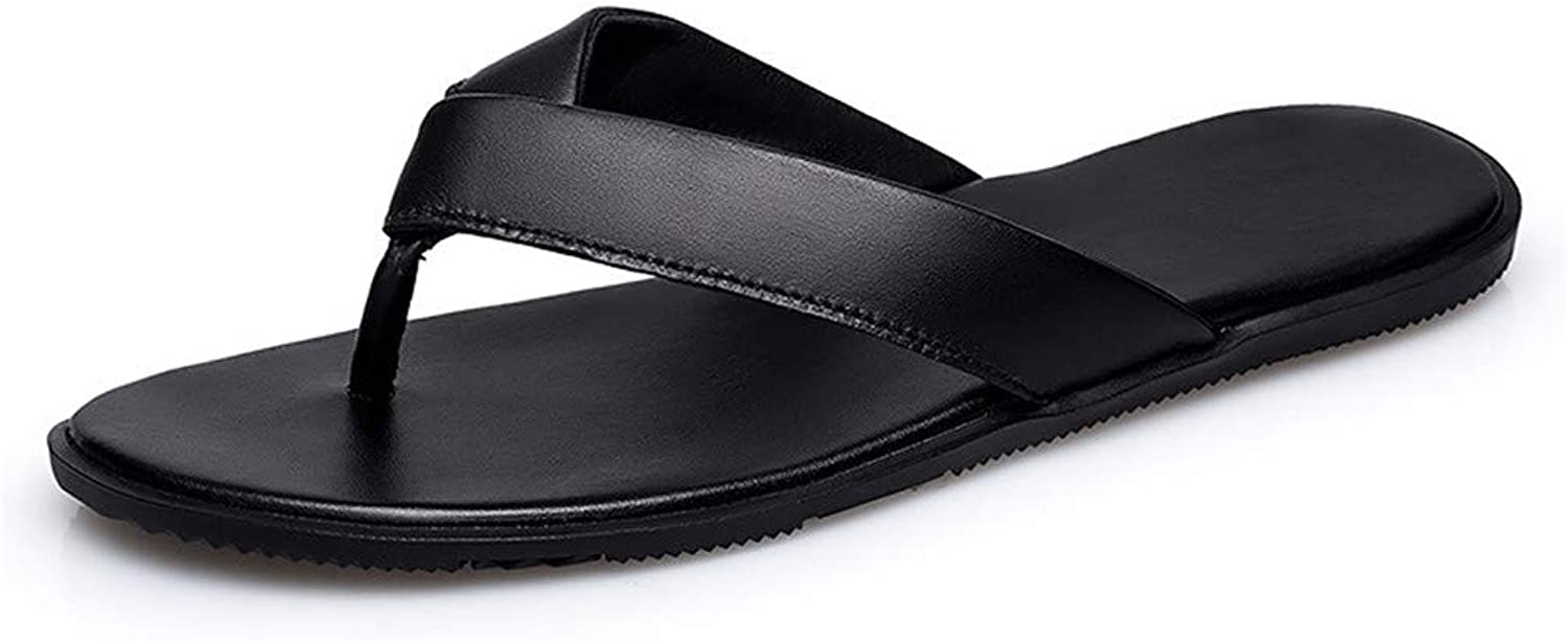 Jiahe Flip-flop for Mens Sandals First Layer Leather Beach shoes with Rubber Sole,39