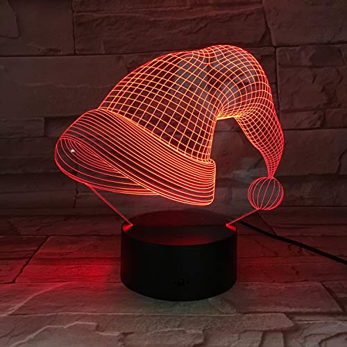 3D led nacht licht kerstmuts vorm 7 kleur afstandsbediening Touch slaapkamer lamp huis decoratie, kinderen kerstcadeau