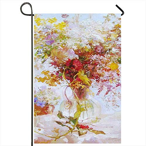 Onete Garden Flag 28x40 Inches Colorful Artist Drawing Oil Flowers Still Life Painting Green Basket Beautiful Food Beauty Berries Outdoor Seasonal Home Decor Welcome House Yard Banner Sign Flags