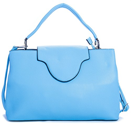 Big Handbag Shop Womens trendy designer Inspired Faux Leather top Handle Satchel bag, Blu