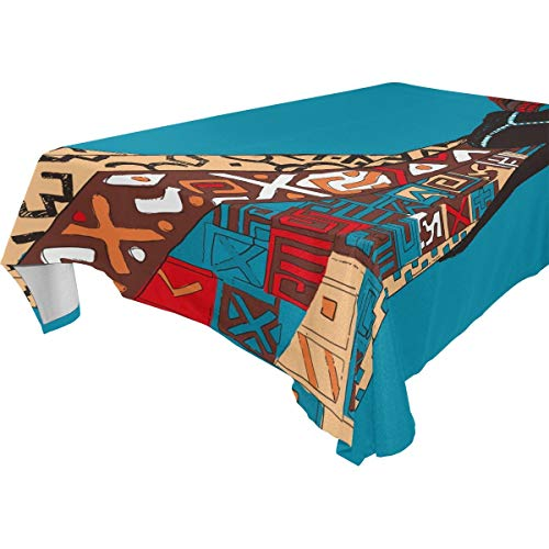 LUCKYEAH Ethnic African Woman Table Cloth Washable Square Table Cover Polyester Tablecloths Rectangular for Indoor Patio Kitchen Picnic Outdoor, 54x54inch