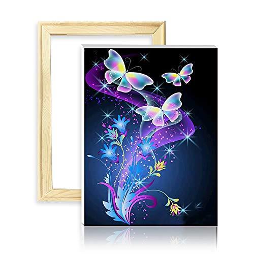 ufengke Schmetterlinge Blumen 5D Diamant Malerei Set DIY Diamond Painting nach Zahlen Kreuzstich Stickbilder, mit Holzkeilrahmen, Design 25x35cm